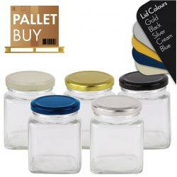 Pallet of 2380 Square Glass Jars -  280ml / 400gm size - with Lids. GST Incl.