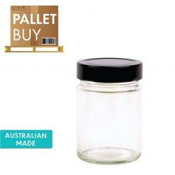 Pallet of 2664 Deluxe Round Glass Jars - 325ml/450gm size - with Extra Tall Black Lids. Australian Made. GST Incl.
