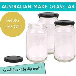 Round Glass Jars - 370ml/500gm size - with Black Lids.  Australian Made