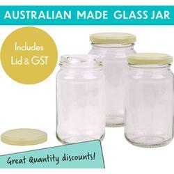 Round Glass Jars - 370ml/500gm size -  with Cream Lids.  Australian Made