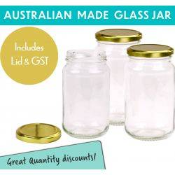 Round Glass Jars - 370ml / 500gm size -  with Gold Lids. Australian Made