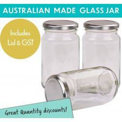 Round Glass Jars - 370ml / 500gm size - with Silver Lids. Australian Made