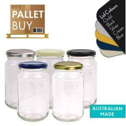 Pallet of 2584 Round Glass Jars - 370ml/500gm size - with Lids. Australian Made. GST Incl.