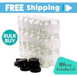 Bulk Buy 480 pcs Honey Jars - 325ml/450gm size - Round Glass Jars with Extra Tall Black Lids.  Made in Australia. [CLONE]