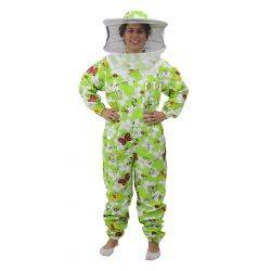 Green Patterned Cotton Bee Suit - Round Hat