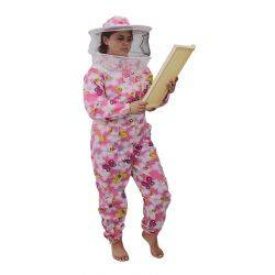 Pink Patterned Cotton Bee Suit - Round Hat