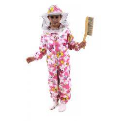 Kids Pink Patterned Cotton Bee Suit - Round Hat